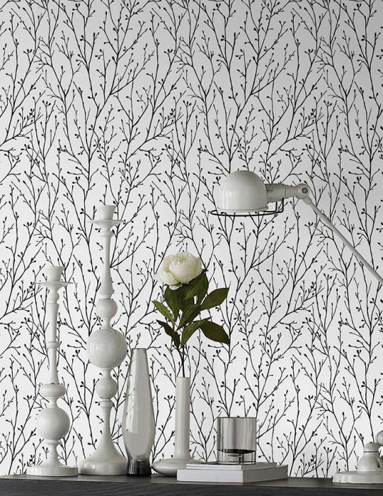 Wallpaper Nurija Matt Branches Cream Anthracite grey Black Silver glitter