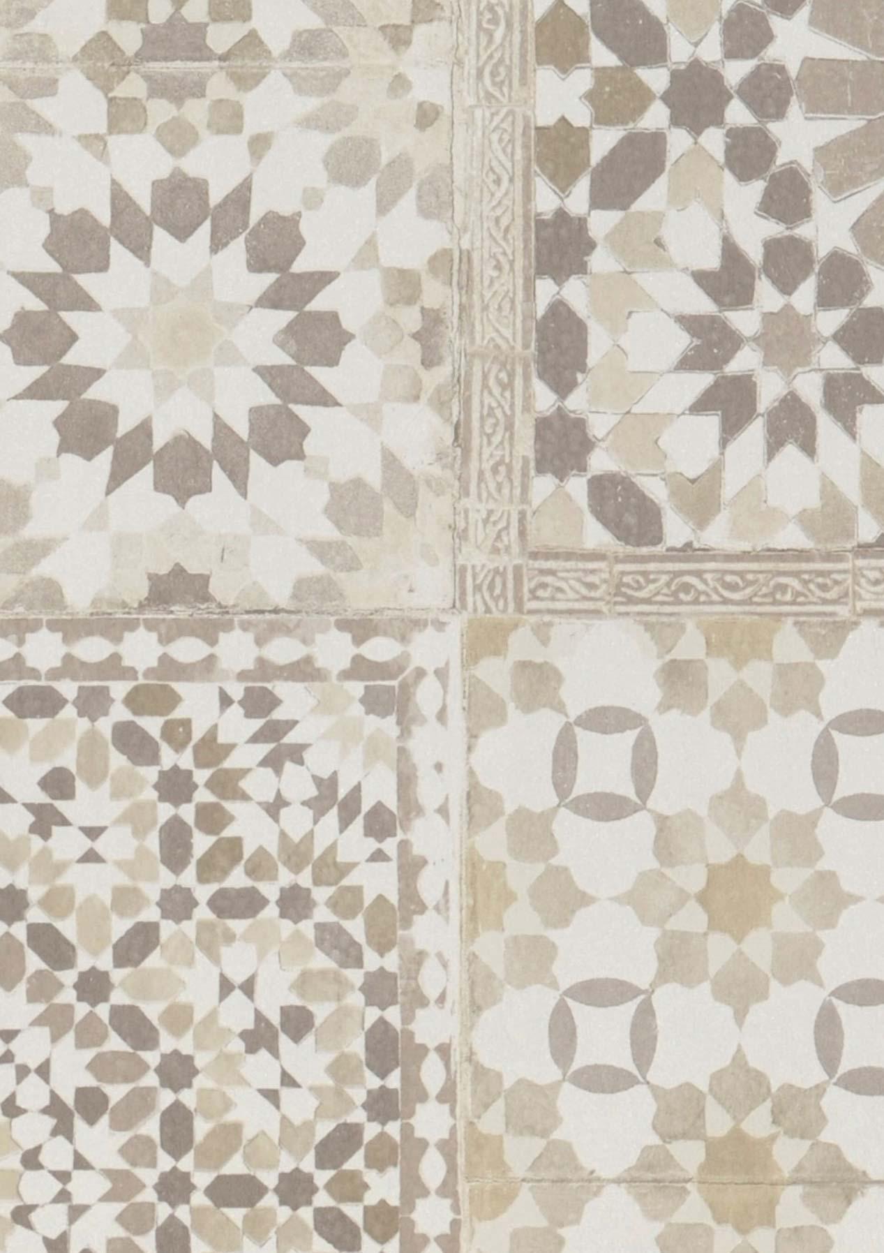 Tapete azulejos beige cremeweiss graubeige sepiabraun for Tapete nach hause