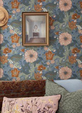 Papel pintado Smilla azul pichón Raumansicht