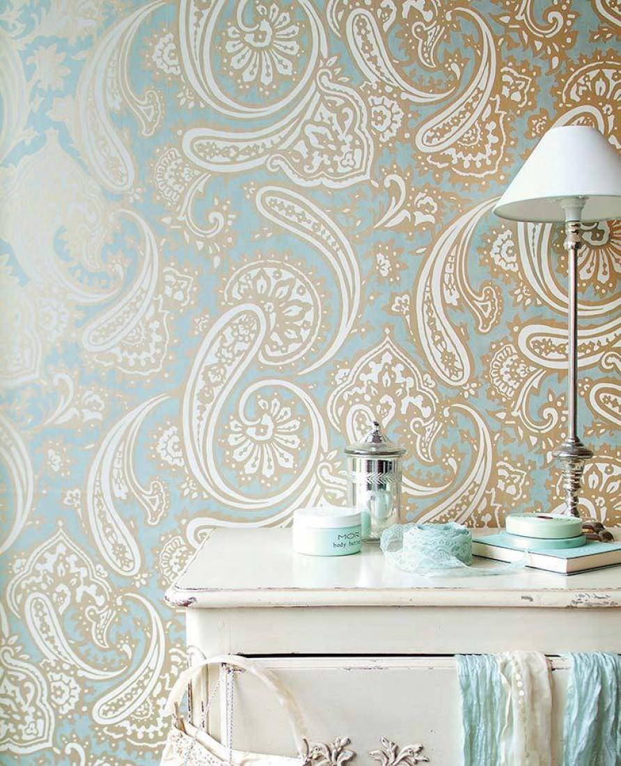 Papel pintado sampati azul claro blanco crema oro for Papel pintado de los 70