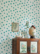 Wallpaper Pia Matt Dots White Pale mint green Black Turquoise green