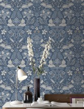 Wallpaper Leyla Matt Floral Elements Birds Grey blue Shades of blue Grey beige Light grey