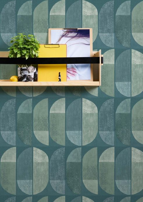 Geometric Wallpaper Wallpaper Juniper pale green Room View