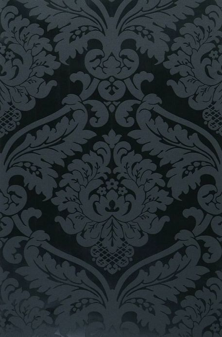 Papel pintado damasco Papel pintado Rajah negro Ancho rollo