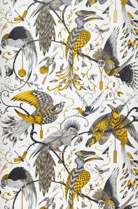 Wallpaper Volturi Matt Bugs Tendrils & branches Birds Cream Beige grey Yellow Gold shimmer Grey tones