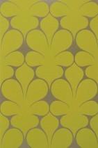 Wallpaper Velusa Matt pattern Shimmering base surface Modern damask Silver grey Yellow green