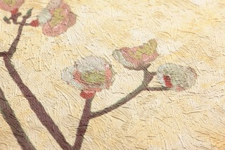 Wallpaper VanGogh Branches Matt Branches with blossoms Pale yellow Antique pink Cream Grey brown Green yellow Pastel turquoise