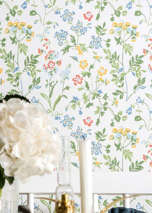 Floral Wallpaper Wallpaper Lolla green Room View