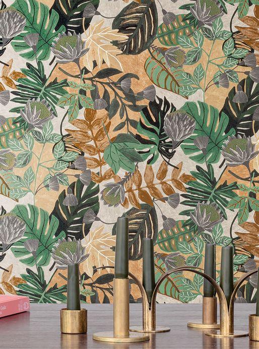Botanical Wallpaper Wallpaper Sunago shades of green Room View