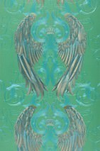 Wallpaper Morrigan Metallic effect Angel's wings Crowns Green Gold Turquoise Water blue