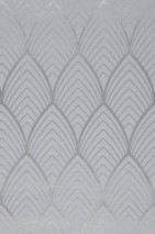 Wallpaper Soana Matt pattern Shimmering base surface Art Deco Bends Silver Light grey