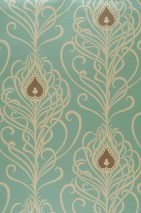 Wallpaper Elektra Matt Peacock feathers Turquoise Cream Grey brown