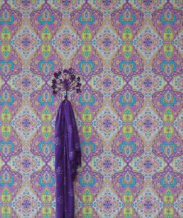 Wallpaper Rosmerta Fine linen look Matt Oriental damask Light beige grey Pale violet Heather violet Yellow green Turquoise