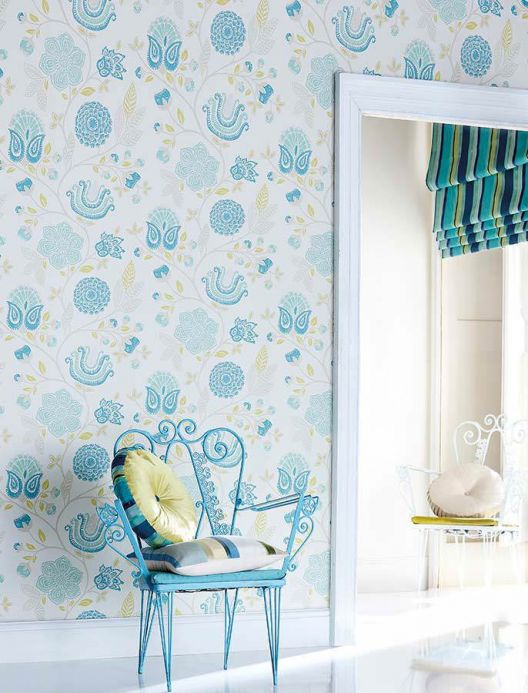 Archiv Wallpaper Macha mint turquoise Room View