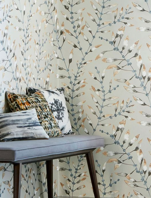 Botanical Wallpaper Wallpaper Mathea brown beige Room View