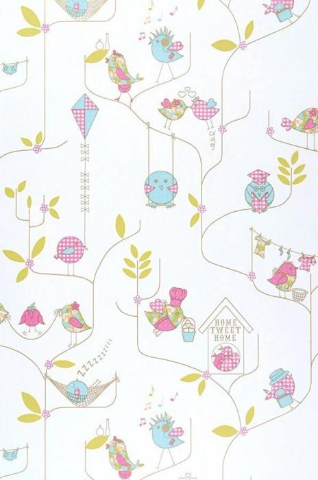 Papel de parede Julina Mate Folhas Pássaros Ramos Branco Violeta urze Verde amarelado Azul claro
