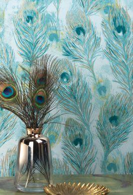 Papier peint Noelia turquoise menthe Vue pièce