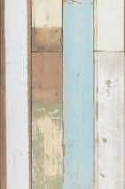Wallpaper Scrapwood 03 Matt Shabby chic Imitation wood Pale brown Blue white Grey olive Grey white Light blue