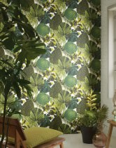 Wallpaper Venaria Matt Leaves Cream Fern green Yellow green Pine green Black green