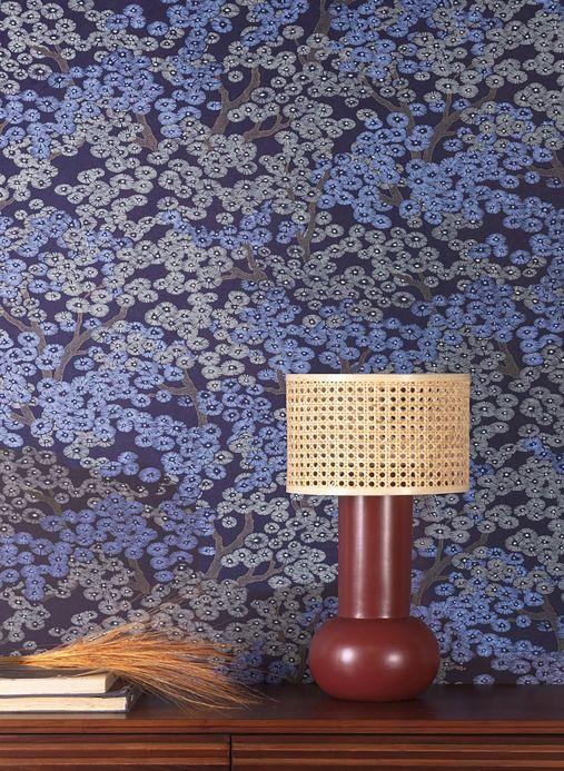 Papel de parede floral Papel de parede Kirigami azul pérola Ver ambiente
