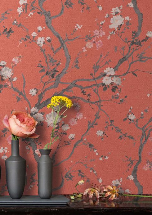 Floral Wallpaper Wallpaper Malabar salmon red Room View