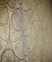 Wallpaper Kassandra Shimmering pattern Matt base surface Floral damask Geometrical elements Black Gold