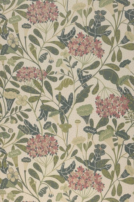Floral Wallpaper Wallpaper Flowery cream Bahnbreite