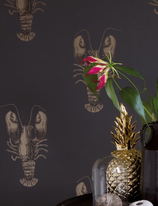 Wallpaper Zisani Shimmering pattern Matt base surface Lobsters Anthracite Pearl gold Black grey