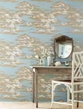 Papel de parede Dante Mate Nuvens Azul esbranquiçado Cinza bege claro Bege pérola Branco