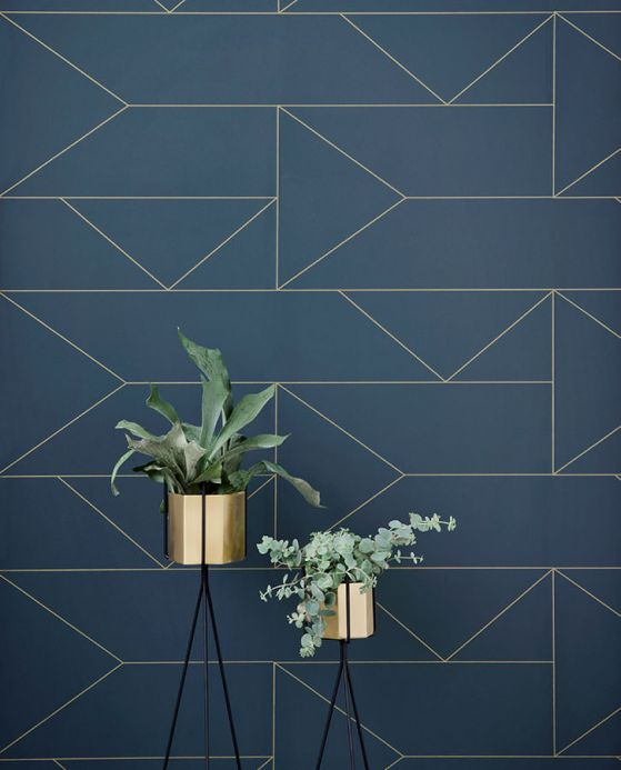 Geometric Wallpaper Wallpaper Lines grey blue Room View