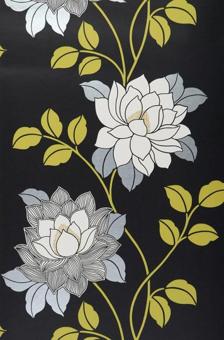 Wallpaper Ismene Matt Flowers Black Yellow green Silver White