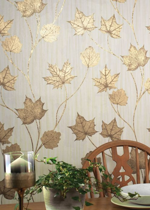 Botanical Wallpaper Wallpaper Alissa pearl gold Room View