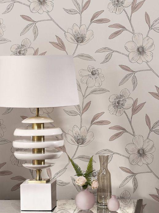 Papel pintado floral Papel pintado Cassata blanco grisáceo Ver habitación