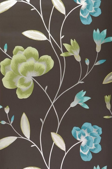 Wallpaper Madelaine Matt Flowers Black brown Green Light green Pastel turquoise Silver
