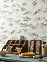 Carta da parati Arielle Opaco Stelle Uccelli Onde Bianco crema Grigio beige Grigio Turchese menta Giallo olivastro
