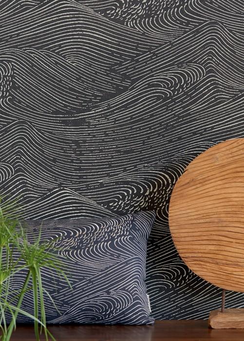 Papier peint Ulevan Mat Vagues Gris noir Ivoire clair