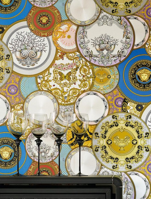 Wallpaper Noell Shimmering Floral damask Circles Medallions Animals Cream shimmer Golden yellow Sky blue Violet Pale pink Golden yellow lustre