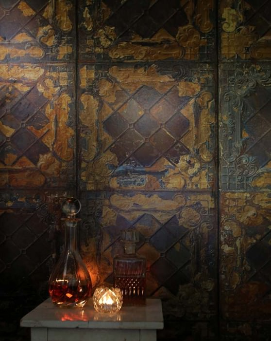 Wallpaper Brooklyn Tins 08 Matt Shabby chic Imitation enameled iron tiles Grey brown Dark brown Gold Grey blue Copper