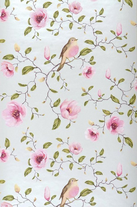 Wallpaper Sanja Matt pattern Shimmering base surface Magnolia branches Birds Cream lustre Pale red violet Brown Green