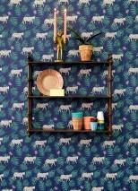 Papel de parede Kabbo Mate Folhas Flores Leopardos Azul safira Verde pátina Violeta Azul violeta Branco