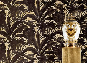 Wallpaper Yasmin Matt pattern Shimmering base surface Leaves Pearl beige Green brown Black