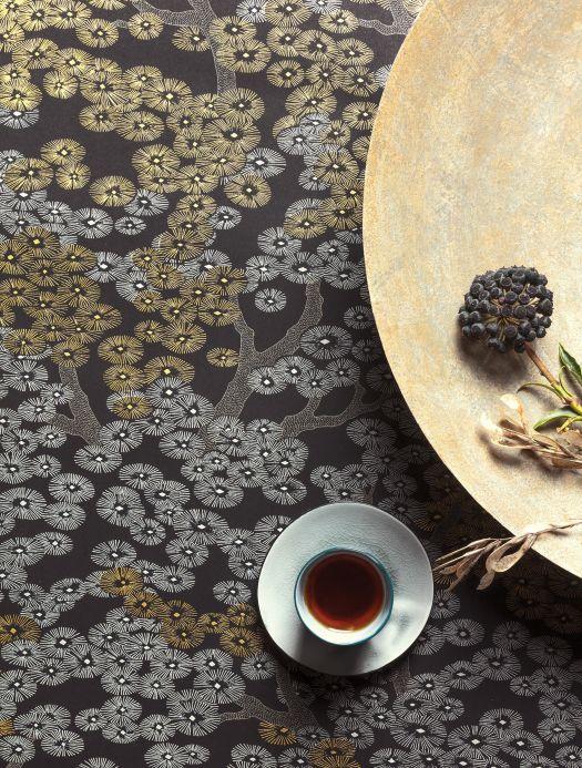 Papel de parede floral Papel de parede Kirigami dourado mate Ver ambiente