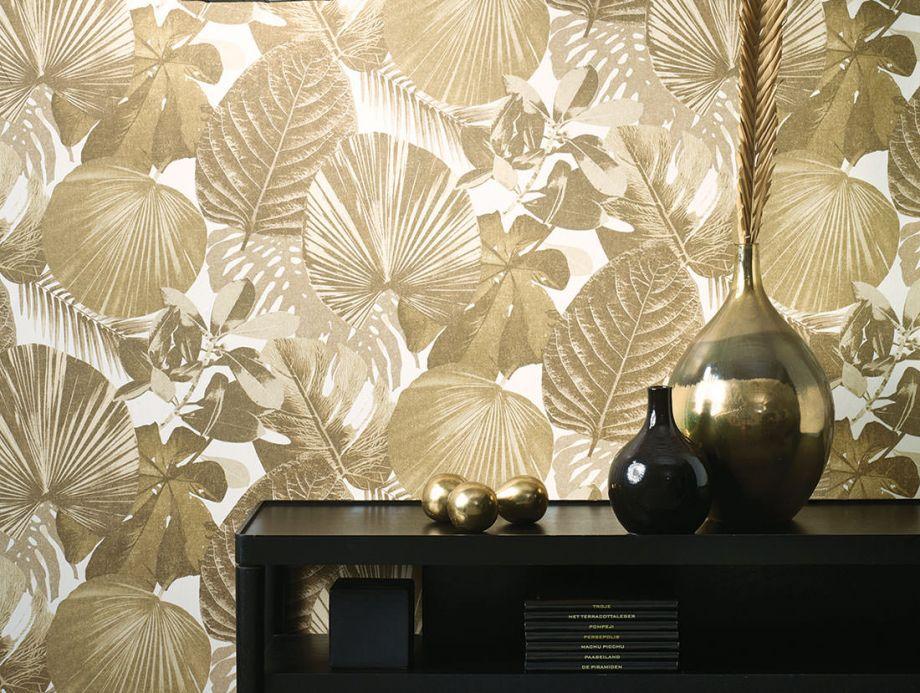 Papel pintado botánico Papel pintado Venaria gris caqui Ver habitación