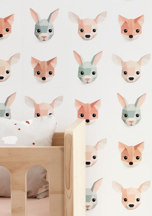 Studio Ditte Wallpaper Forest Animals pale brown Room View