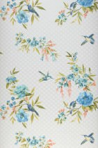 Wallpaper Sandrine Matt Flower tendrils Small ornaments Birds Cream Cream shimmer Beige red Blue Fern green Pastel turquoise