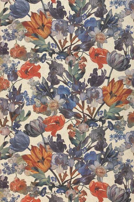 Papel de parede Joslina Mate Efeito têxtil  Flores Bege Branco creme Azul Marrom Verde Laranja Vermelho Azul violeta