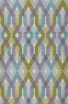 Wallpaper Karus Matt Geometrical elements Cream Blue lilac Claret coloured Fern green Mint turquoise