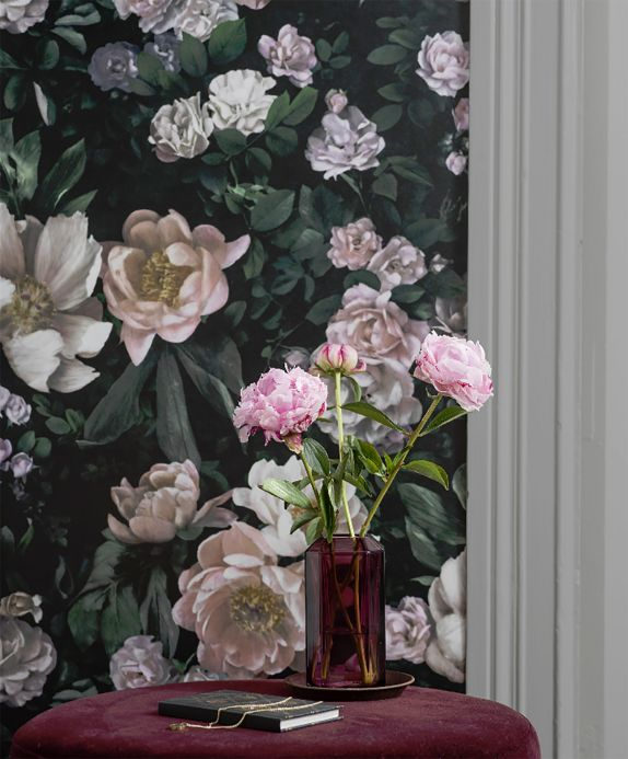 Floral wallpaper Wallpaper Sianna black green Room View