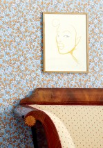Wallpaper Videnna Matt Flower tendrils Pastel blue Blue lilac Green yellow shimmer Orange brown   White