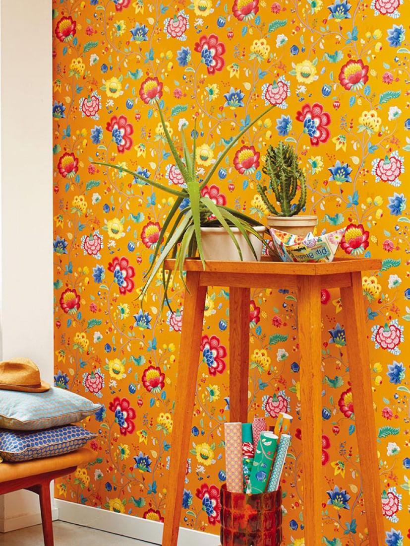 Papel pintado belisama amarillo ma z gris beige azul amarillo oro rojo frambuesa verde - Papel pintado de los 70 ...
